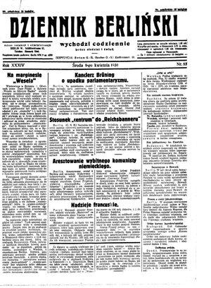 Dziennik Berliński vom 09.04.1930