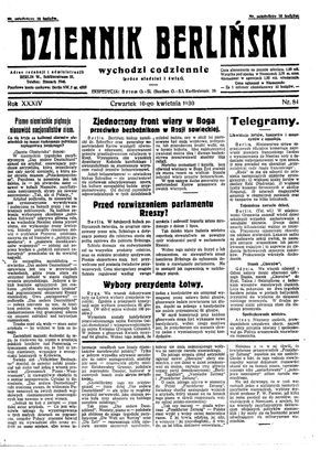 Dziennik Berliński vom 10.04.1930