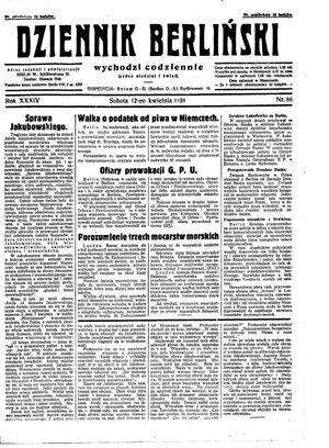 Dziennik Berliński vom 12.04.1930
