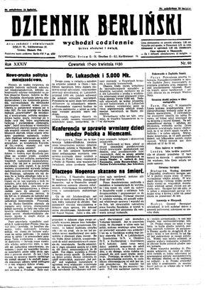 Dziennik Berliński vom 17.04.1930