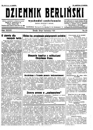 Dziennik Berliński vom 23.04.1930