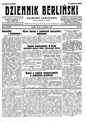 Dziennik Berliński vom 25.04.1930