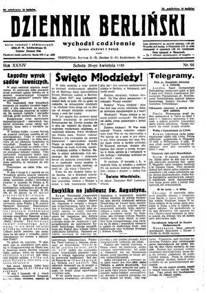 Dziennik Berliński vom 26.04.1930
