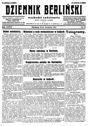Dziennik Berliński vom 27.04.1930