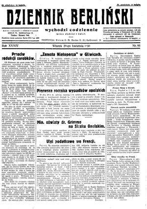 Dziennik Berliński vom 29.04.1930