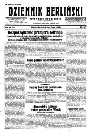Dziennik Berliński vom 21.07.1935
