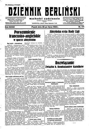 Dziennik Berliński vom 26.07.1935