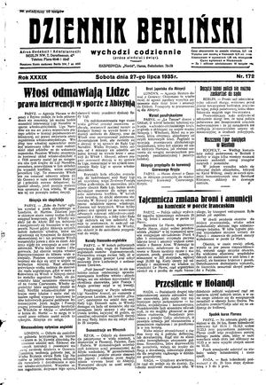 Dziennik Berliński vom 27.07.1935