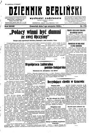 Dziennik Berliński vom 01.08.1935