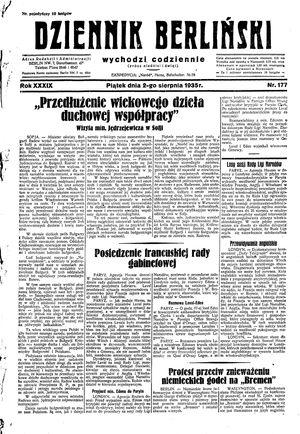 Dziennik Berliński vom 02.08.1935