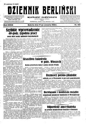 Dziennik Berliński vom 17.08.1935