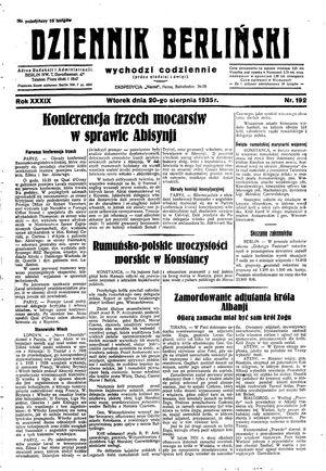 Dziennik Berliński vom 20.08.1935