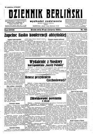 Dziennik Berliński vom 21.08.1935