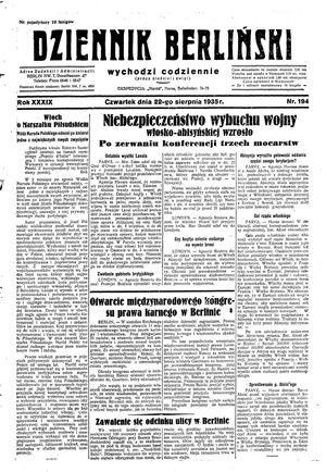 Dziennik Berliński vom 22.08.1935