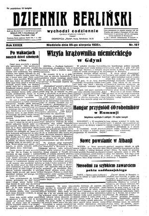 Dziennik Berliński vom 25.08.1935