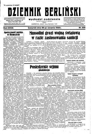 Dziennik Berliński vom 29.08.1935
