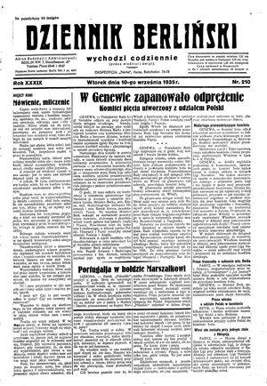 Dziennik Berliński vom 10.09.1935