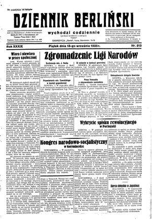 Dziennik Berliński vom 13.09.1935