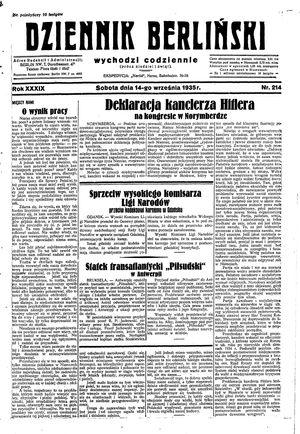 Dziennik Berliński vom 14.09.1935