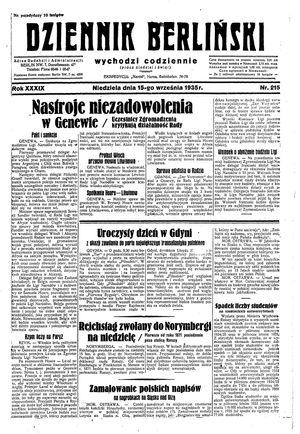 Dziennik Berliński vom 15.09.1935