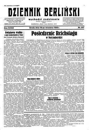 Dziennik Berliński vom 18.09.1935