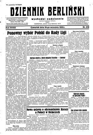 Dziennik Berliński vom 19.09.1935