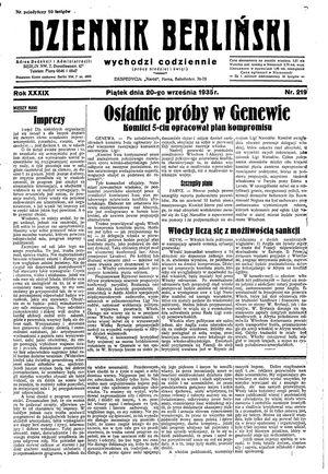 Dziennik Berliński on Sep 20, 1935
