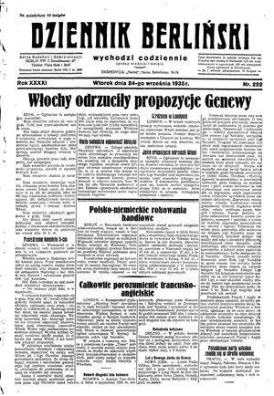 Dziennik Berliński vom 24.09.1935