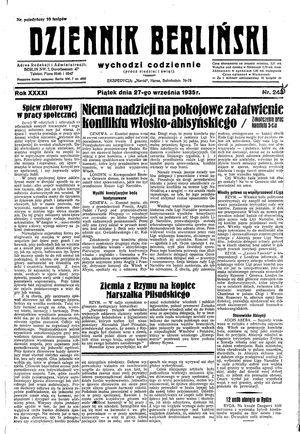 Dziennik Berliński on Sep 27, 1935