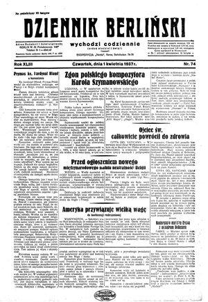 Dziennik Berliński vom 01.04.1937