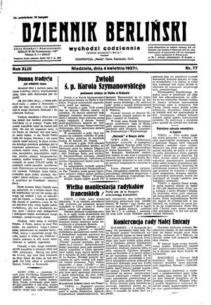 Dziennik Berliński vom 04.04.1937