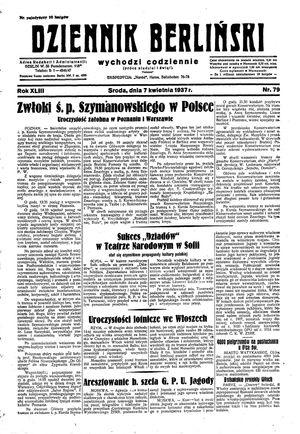 Dziennik Berliński vom 07.04.1937