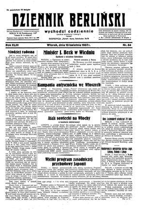 Dziennik Berliński on Apr 13, 1937