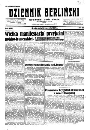 Dziennik Berliński vom 14.04.1937