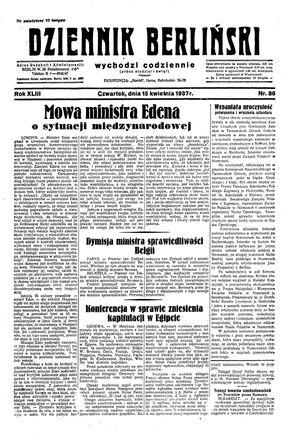 Dziennik Berliński vom 15.04.1937
