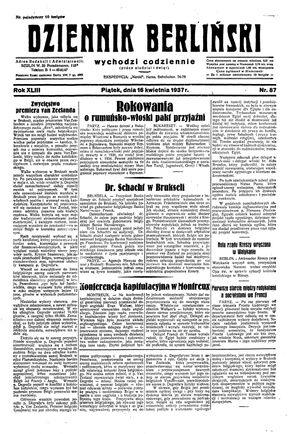 Dziennik Berliński vom 16.04.1937