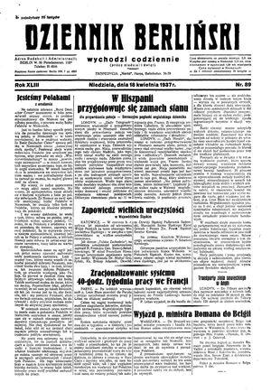 Dziennik Berliński on Apr 18, 1937