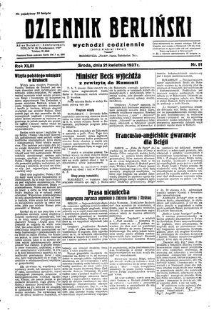 Dziennik Berliński vom 21.04.1937
