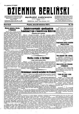 Dziennik Berliński vom 23.04.1937