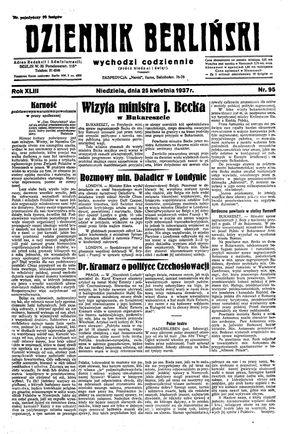 Dziennik Berliński vom 25.04.1937