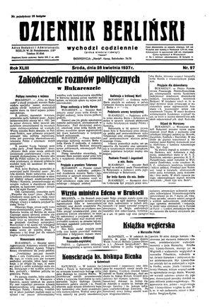 Dziennik Berliński vom 28.04.1937