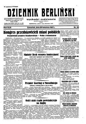 Dziennik Berliński vom 29.04.1937