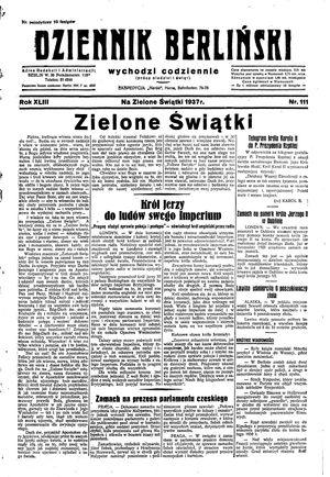 Dziennik Berliński vom 16.05.1937