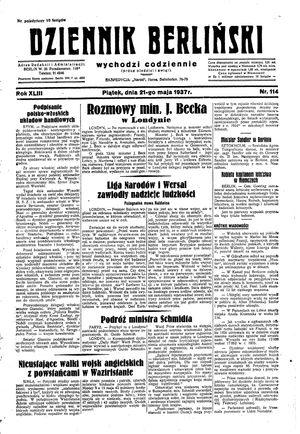 Dziennik Berliński vom 21.05.1937