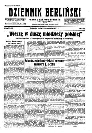 Dziennik Berliński vom 22.05.1937