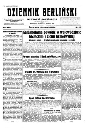 Dziennik Berliński vom 26.05.1937