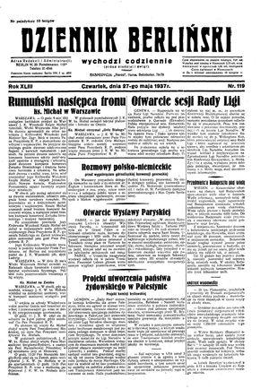 Dziennik Berliński vom 27.05.1937
