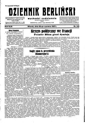 Dziennik Berliński vom 22.06.1937