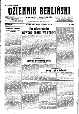 Dziennik Berliński vom 25.06.1937