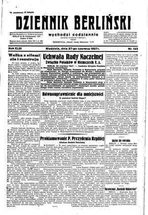 Dziennik Berliński vom 27.06.1937